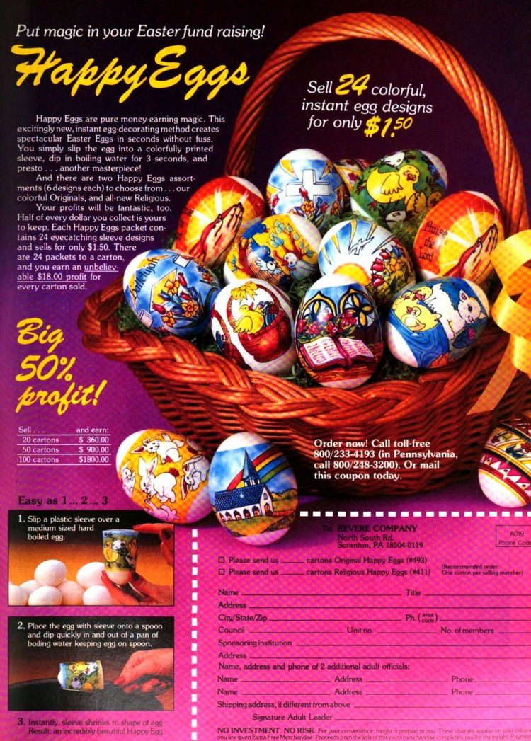 Happy Eggs - Religious Easter egg decorations from 1989