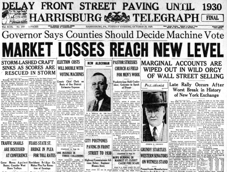 The Great Depression Newspaper headlines from 1929 - Market Losses Reach New Level