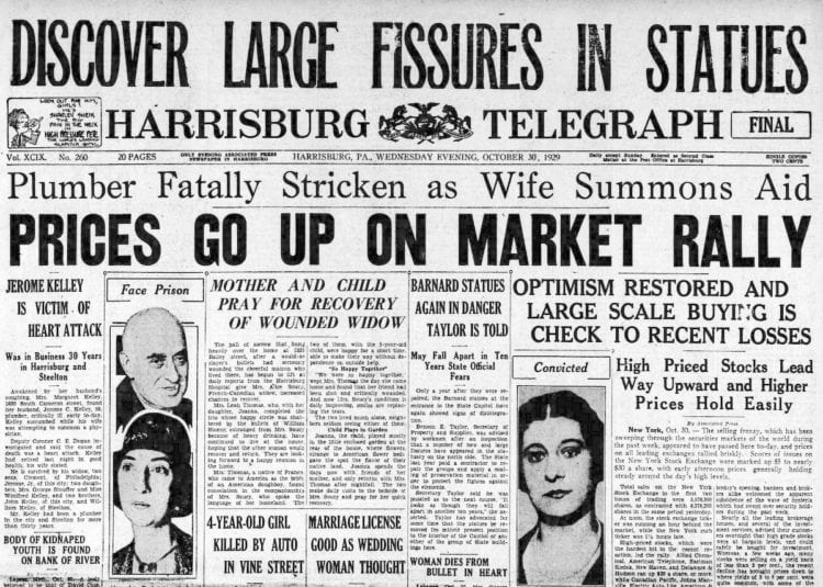 The Great Depression Newspaper headlines from 1929 - Prices Go Up on Market Rally
