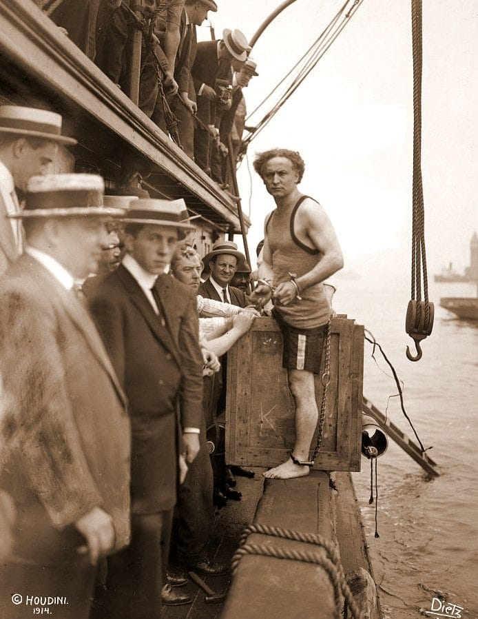 Harry Houdini's underwater box escape trick in 1912