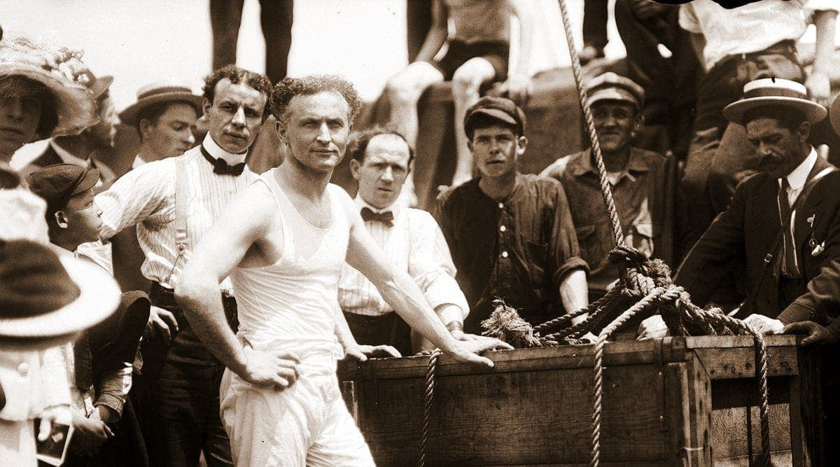 Harry Houdini escaped from a box sunk in New York Harbor