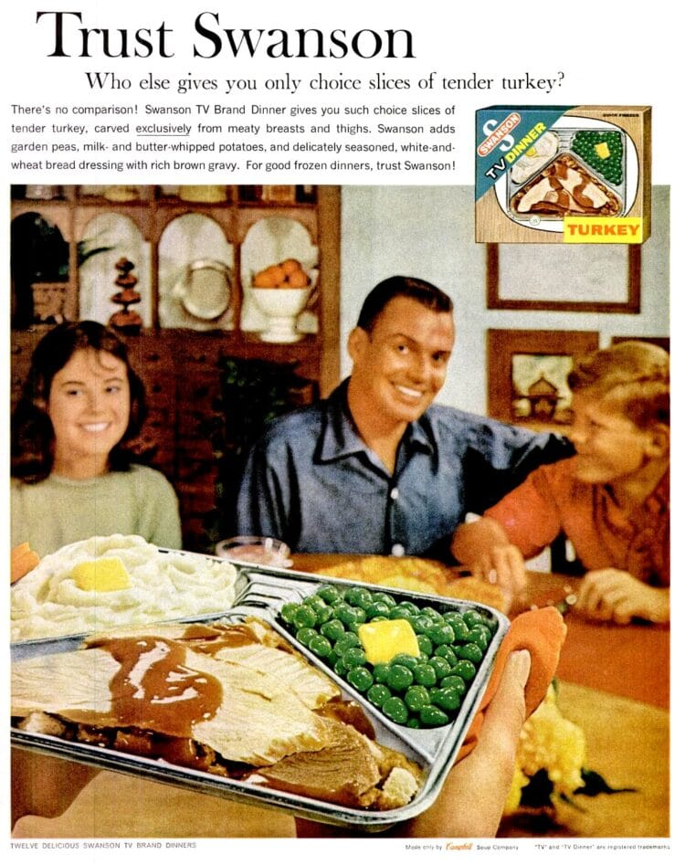 Have a Swanson TV dinner for Thanksgiving in 1961