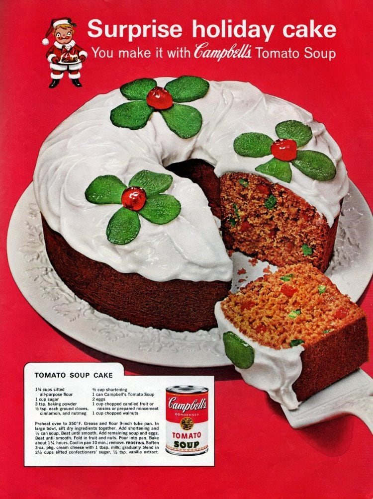 Have yourself a little tomato soup fruitcake for a very retro Christmas (1962)