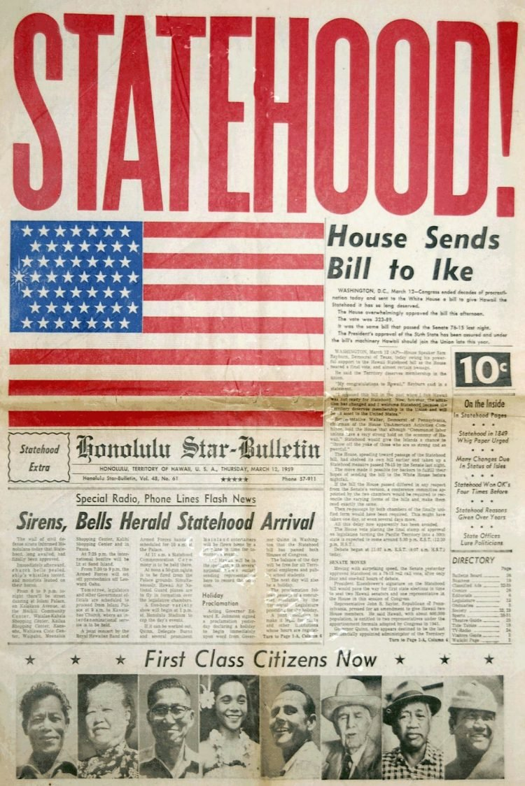 Hawaii statehood newspaper 1959