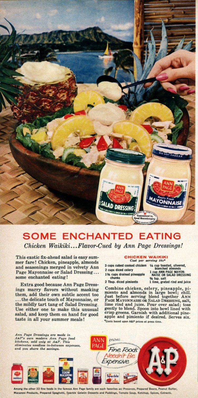 Hawaiian-style pineapple mayo recipes from 1958