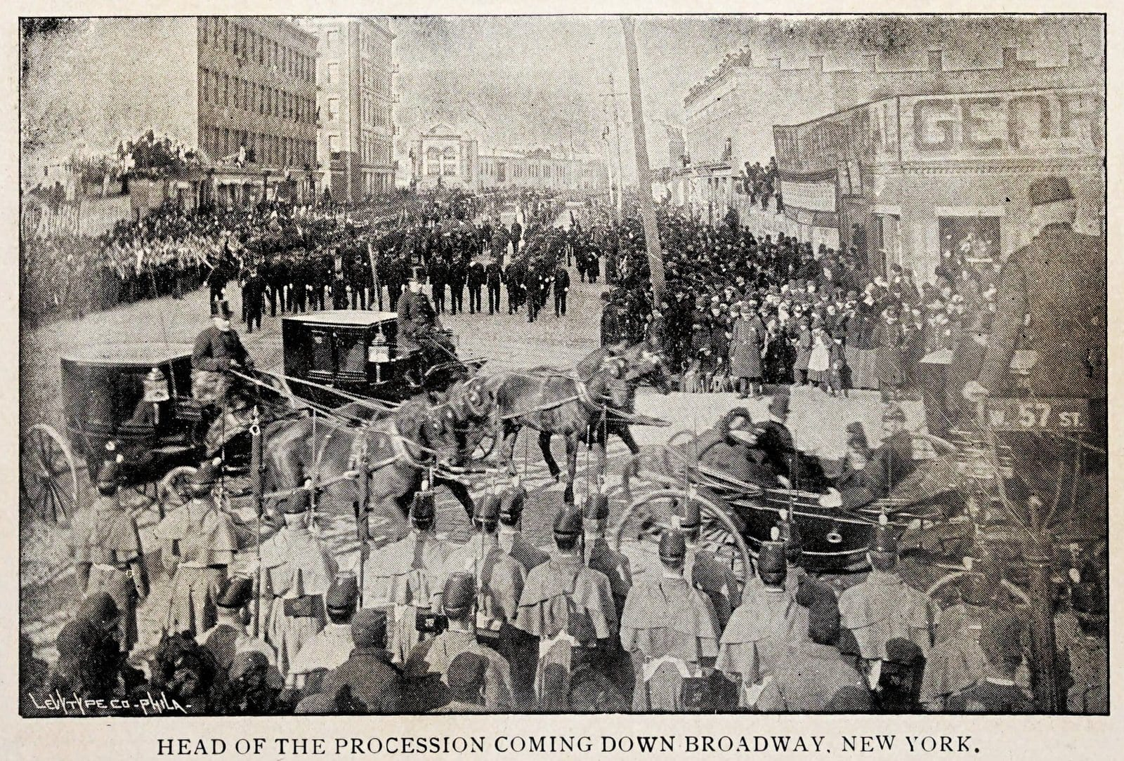 Head of the funeral procession for General William T Sherman, New York City, February 1891