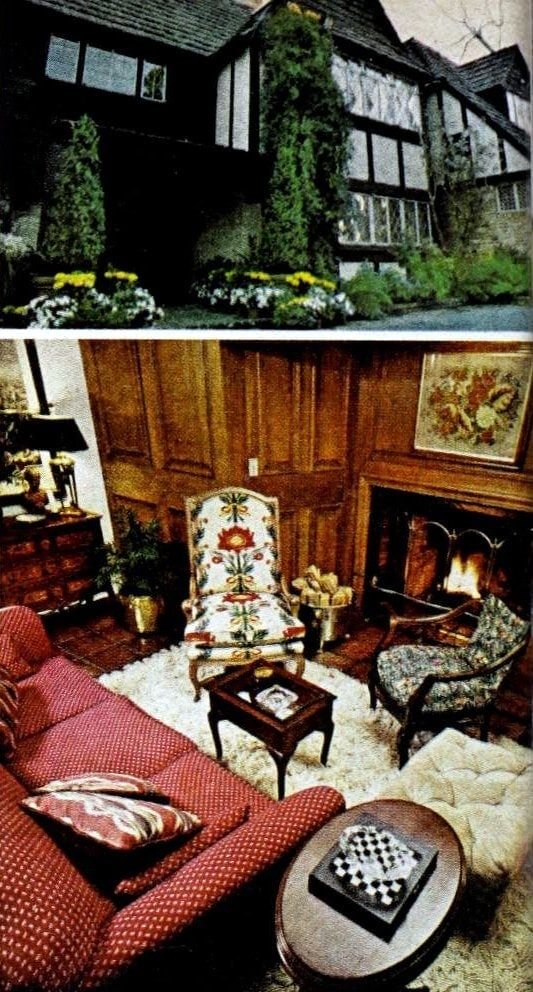 Helen Reddy's old home exterior and fireplace room in 1975