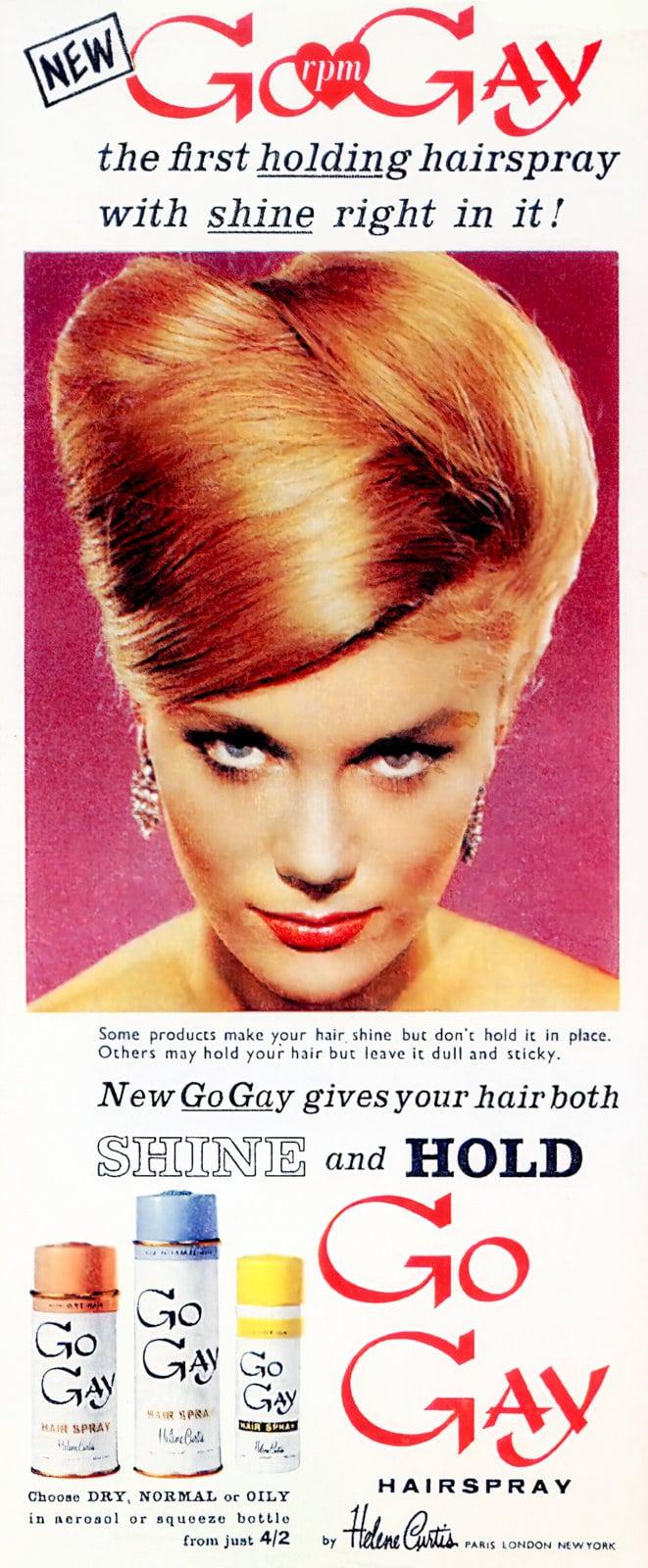 Helene Curtis Go Gay hairspray - 1950s beauty product