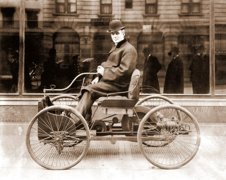 Henry Ford in his Quadricycle - first vehicle he developed 1896