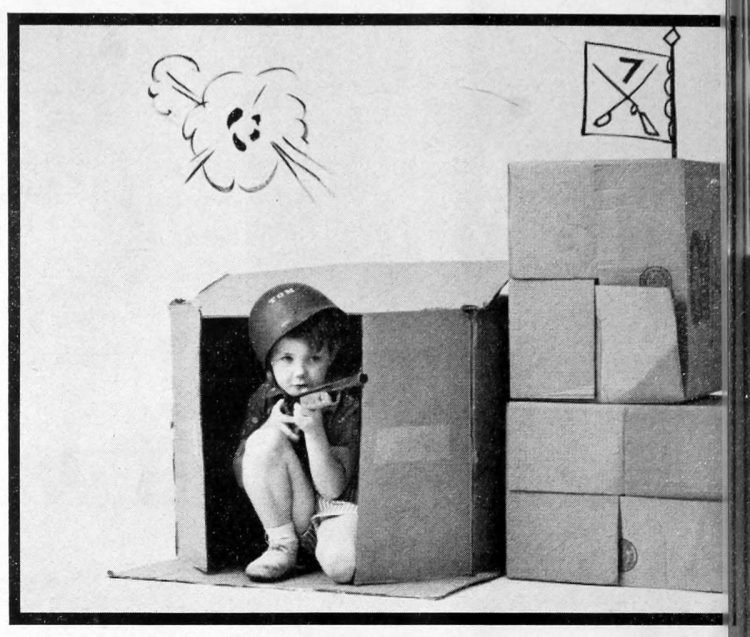 Heroics in a cardboard fort - Fun activities for bored kids - ideas from the 60s