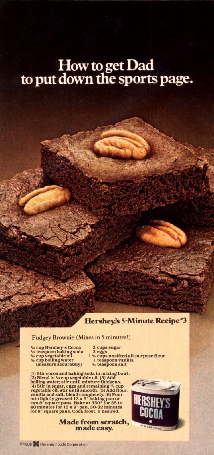 Hershey S Best Brownies The Classic Fudgy Recipe Made With Cocoa Click Americana