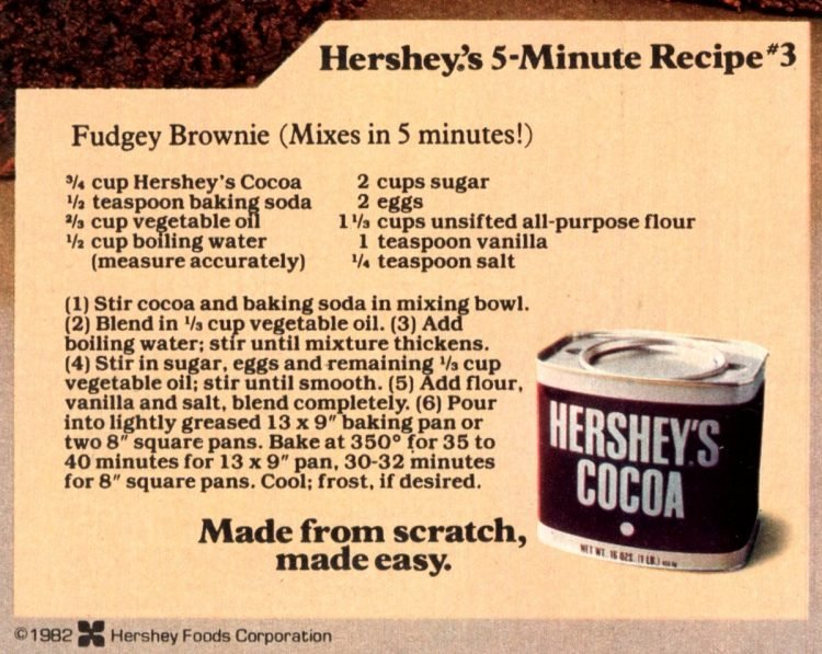 Hershey's Best Brownies Classic recipe made with cocoa recipe card
