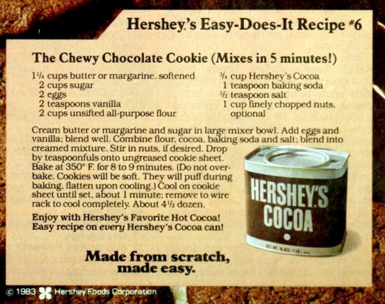 Hershey's chewy chocolate cookie vintage recipe card