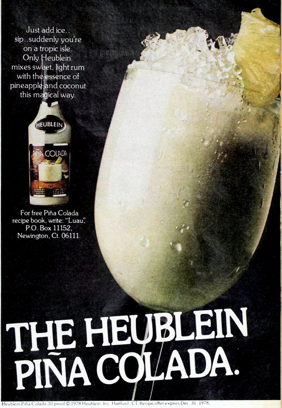 Heublein Pina Colada drink mix (1978)