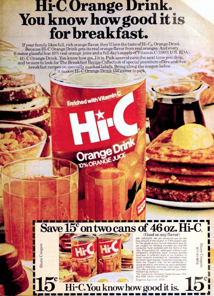 Hi-C orange drink from 1978