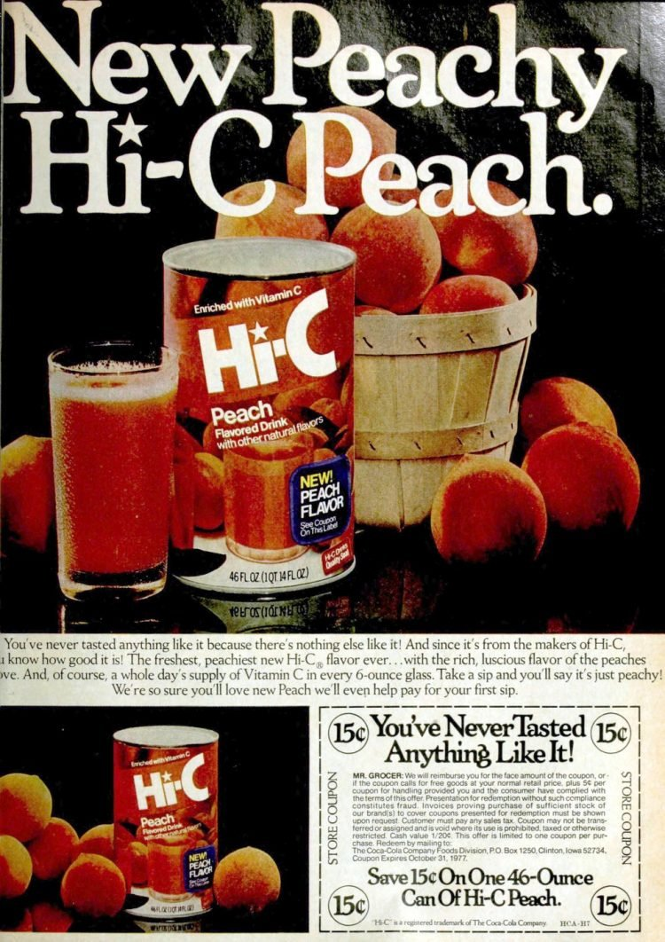Hi-C peach drink from 1977
