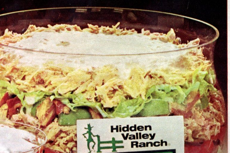 Hidden Valley Ranch 6-layer tuna salad recipe from 1977
