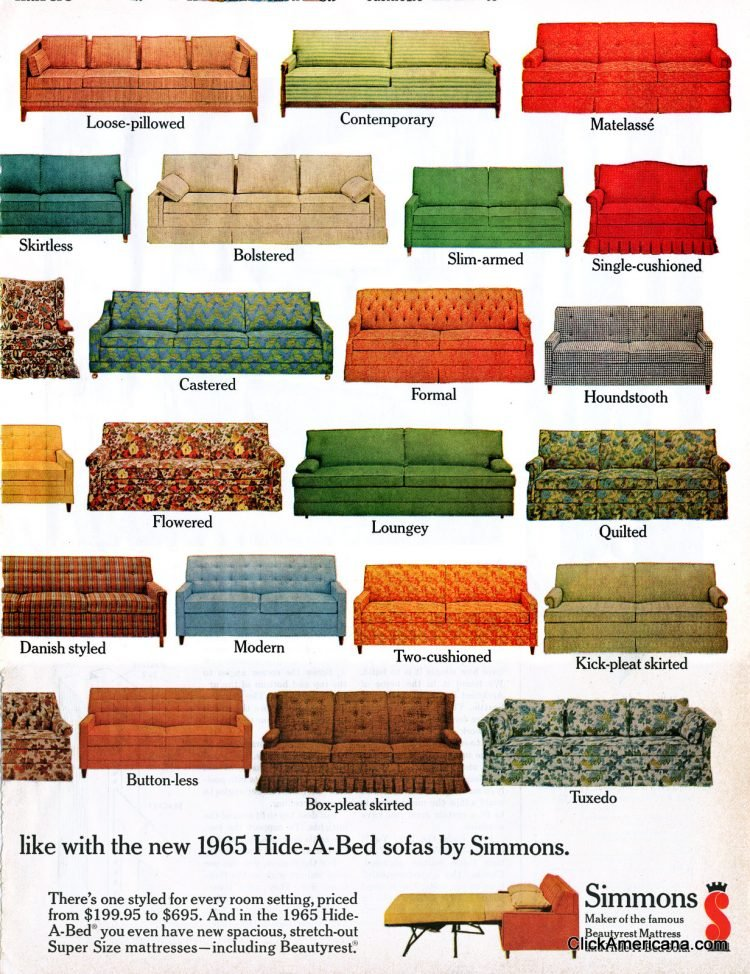 Hide-a-Bed sofa styles from 1965 (2)