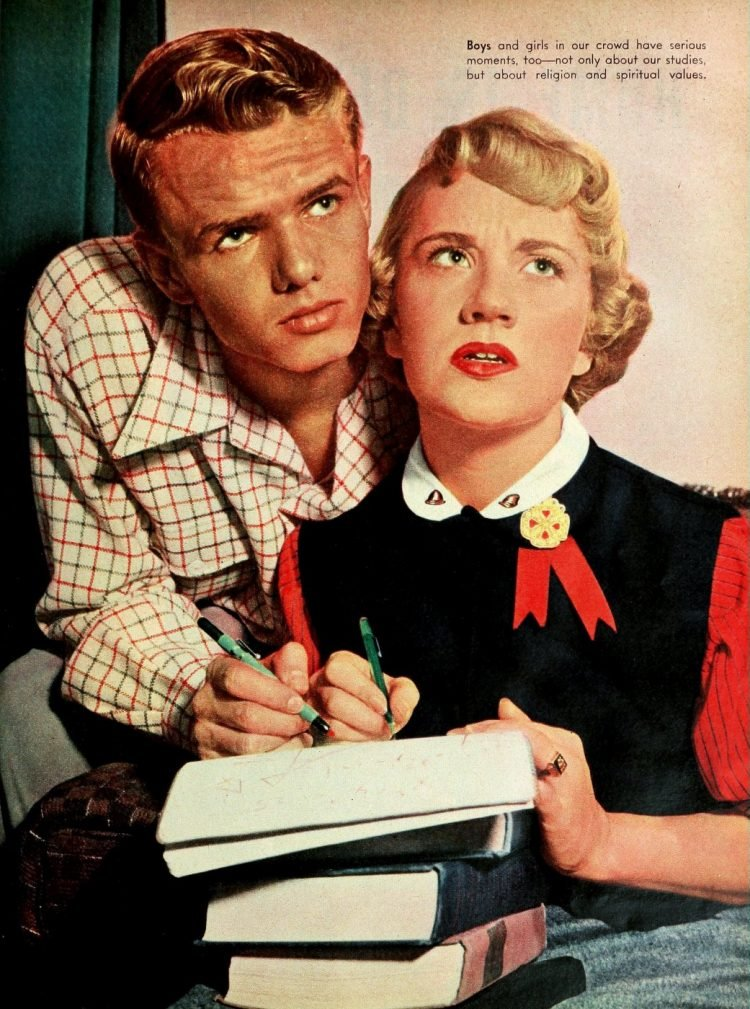 High school boy and girl doing homework in the 50s
