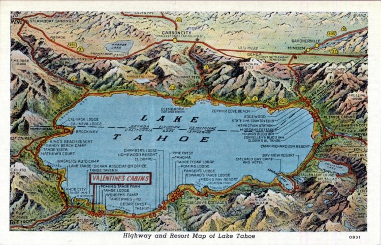 Highway and resort map of Lake Tahoe 1940s