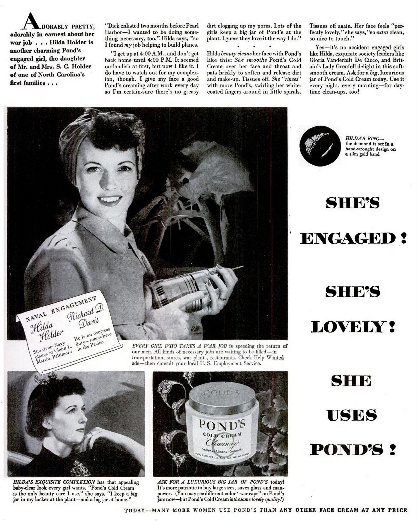 Hilda Holder WWII Riveter - Pond's Engaged Girl (1944)I