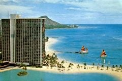 Hilton Hawaiian Village vintage postcard