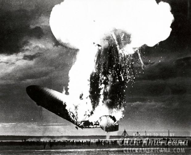 Hindenburg as it crashes in an airfield at NAS Lakehurst N.J May 6 1937