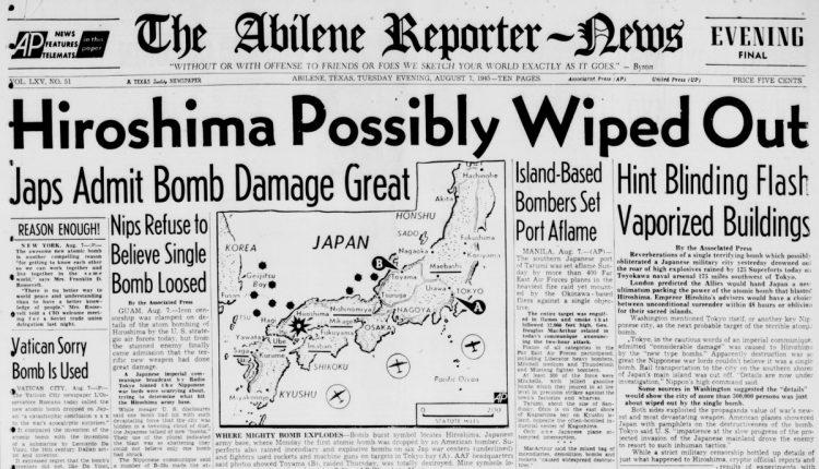Hiroshima bombing - Abilene Reporter News August 7, 1945