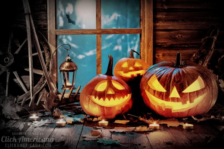 History of Halloween - glowing Jack O lanterns - carved pumpkins