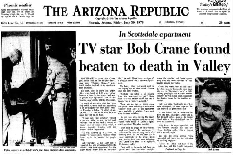 Hogan's Heroes actor Bob Crane found beaten to death in Valley - June 30 1978