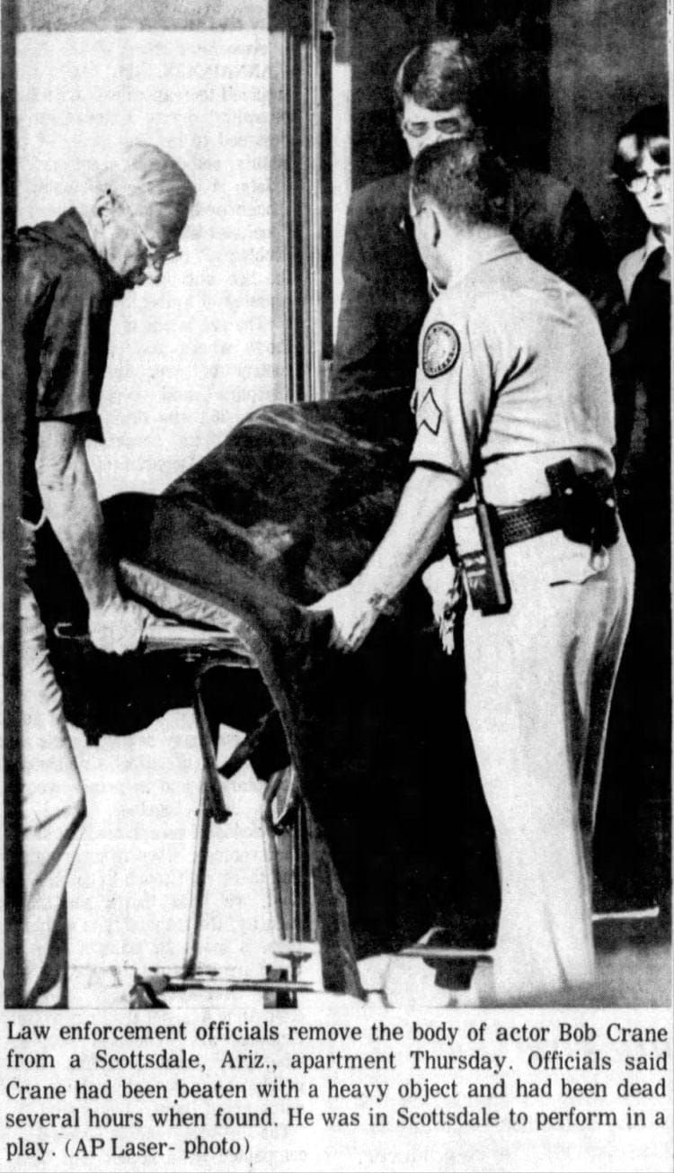 Hogan's Heroes actor Bob Crane murdered - Body being removed from scene - 1978