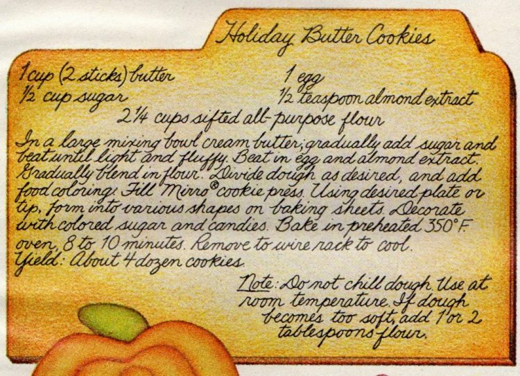Holiday Butter Cookies recipe card (1972)