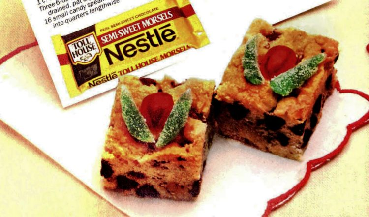 Holiday chocolate chip squares - vintage recipe from 1895