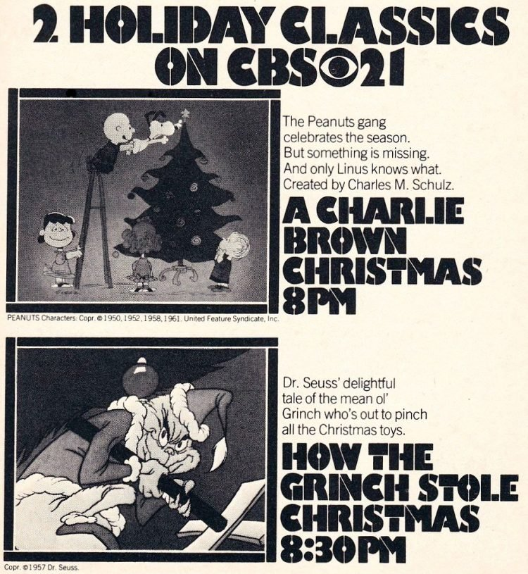 Holiday classics on TV 1976 - A Charlie Brown Christmas and Grinch
