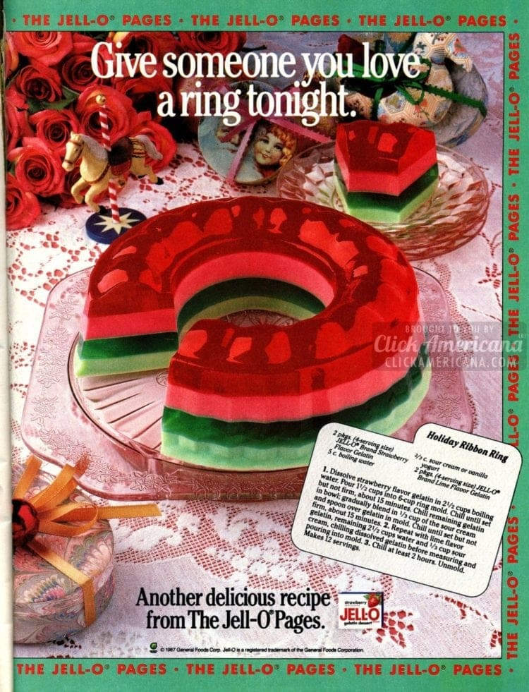 A Christmas-themed molded Jello ring in red and green colors