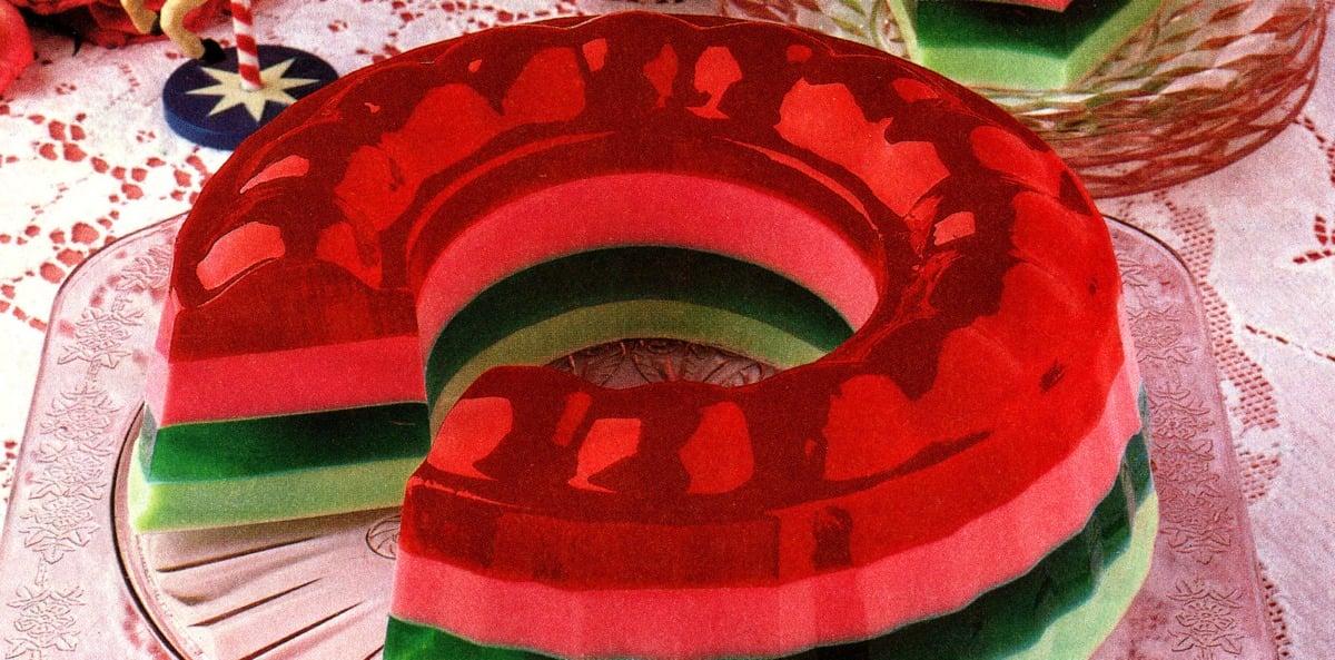 Holiday ribbon ring Jell-O mold recipe 1987 (2)