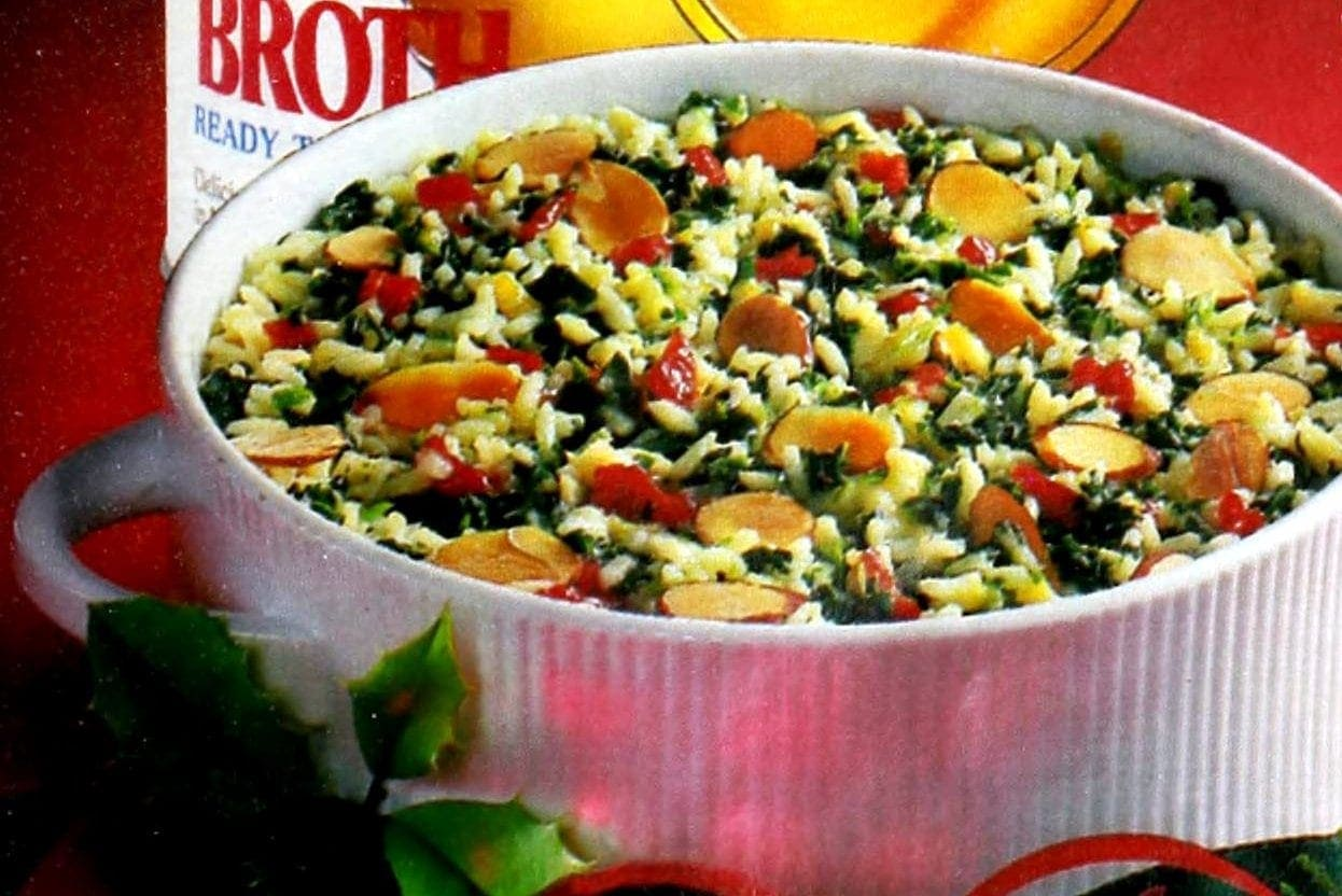 Holiday spinach rice vintage 1980s recipe (1989)