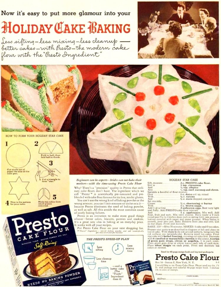 Holiday star cake from 1940