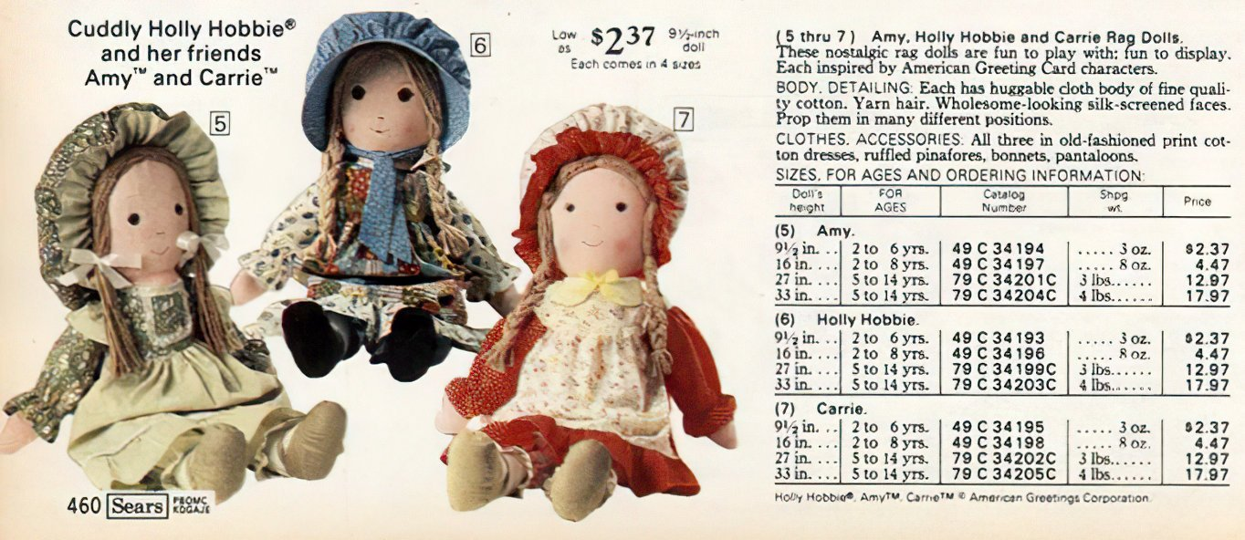 Hollie Hobbie dolls at Sears 1977