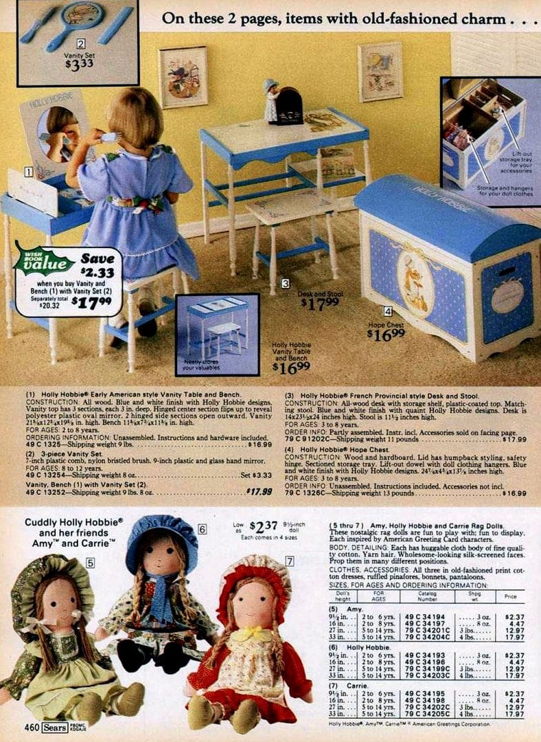 Hollie Hobbie toys at Sears 1977