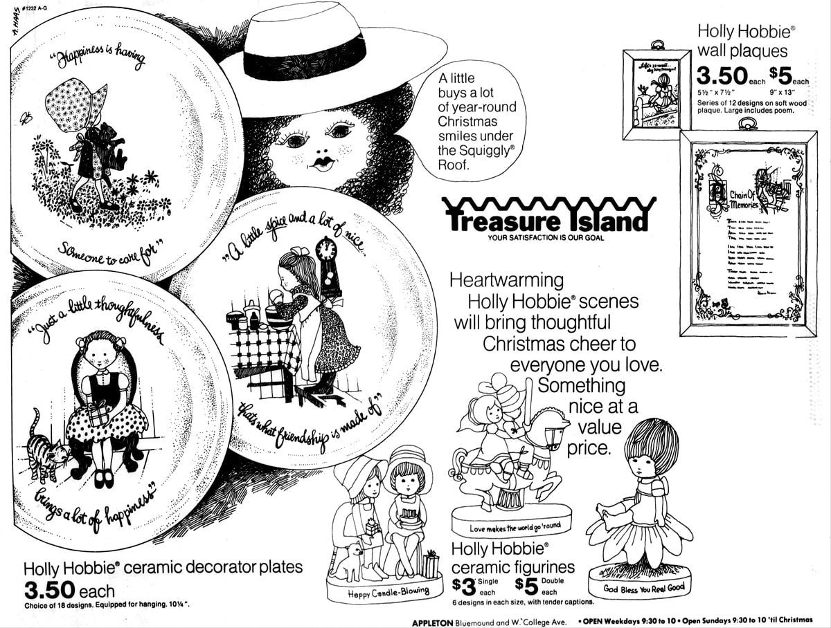 Treasure Island's Holly Hobbie ceramic plates and figurines (1972)
