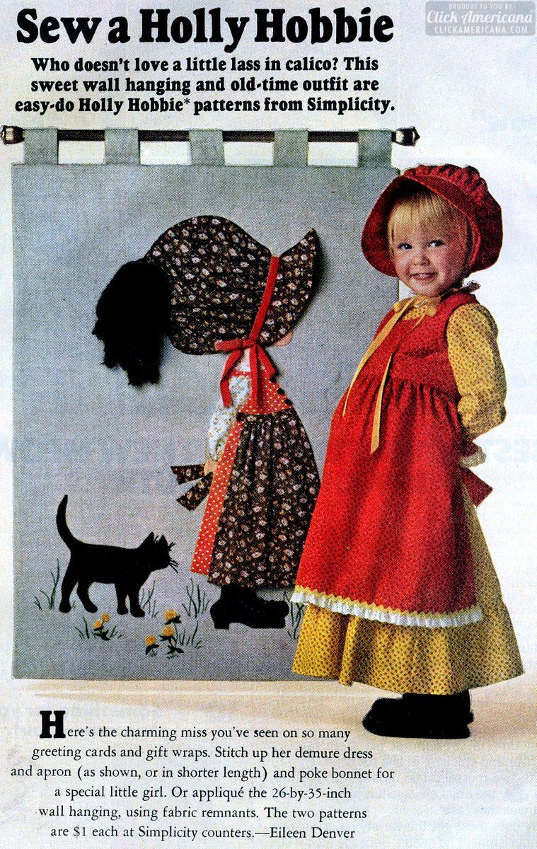 Sew a Holly Hobbie & patterned fabrics with Holly on them (1975)