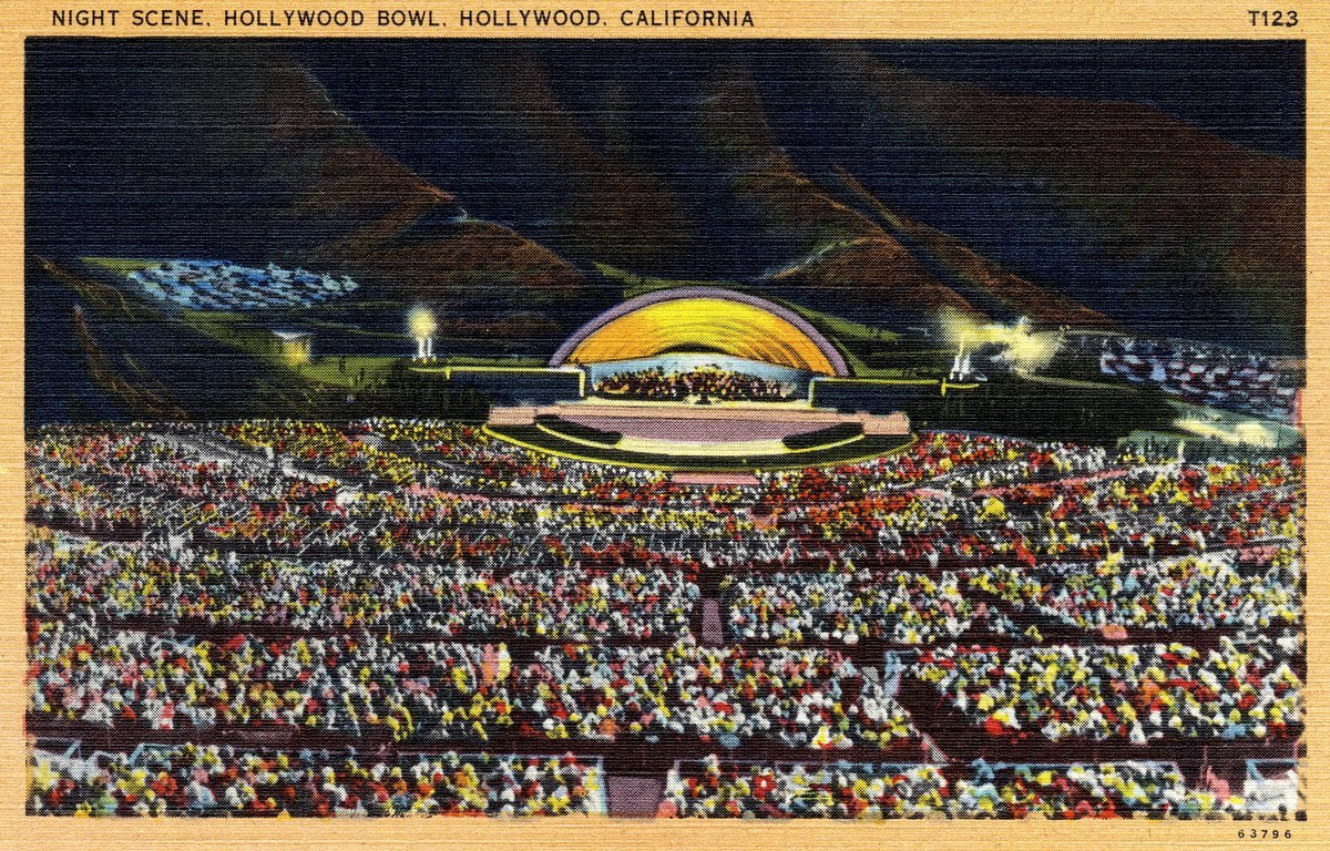 Hollywood Bowl at night - Vintage postcard from 1930s-1940s