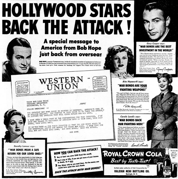 Hollywood stars back the attack - WWII war bonds and celebrities - 1943