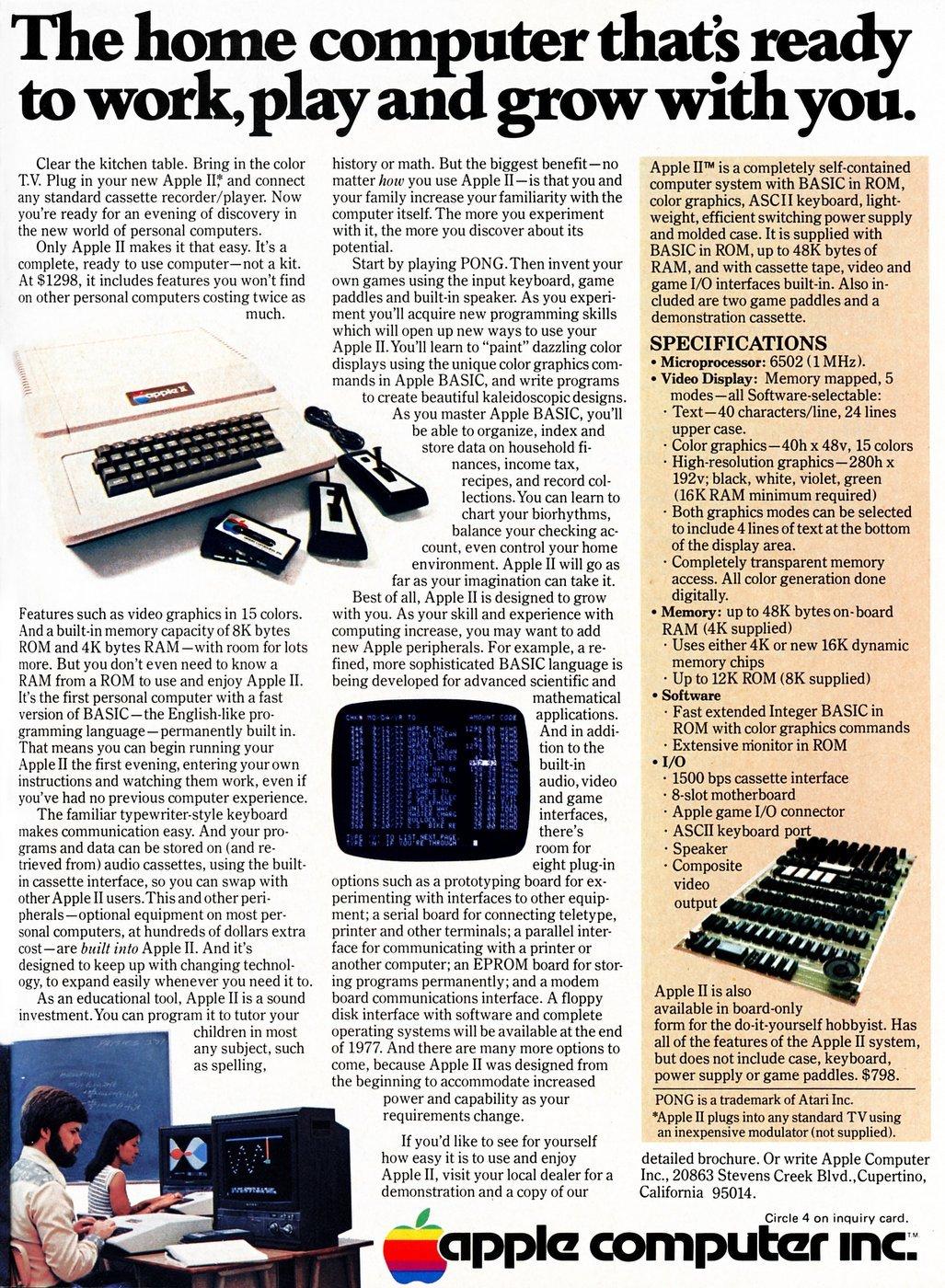 An Apple II advertisement from December 1977