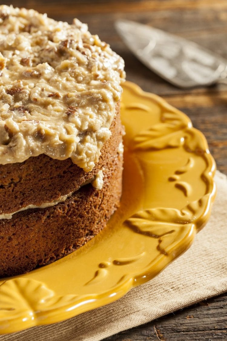 Homemade German chocolate cake with caramel coconut frosting