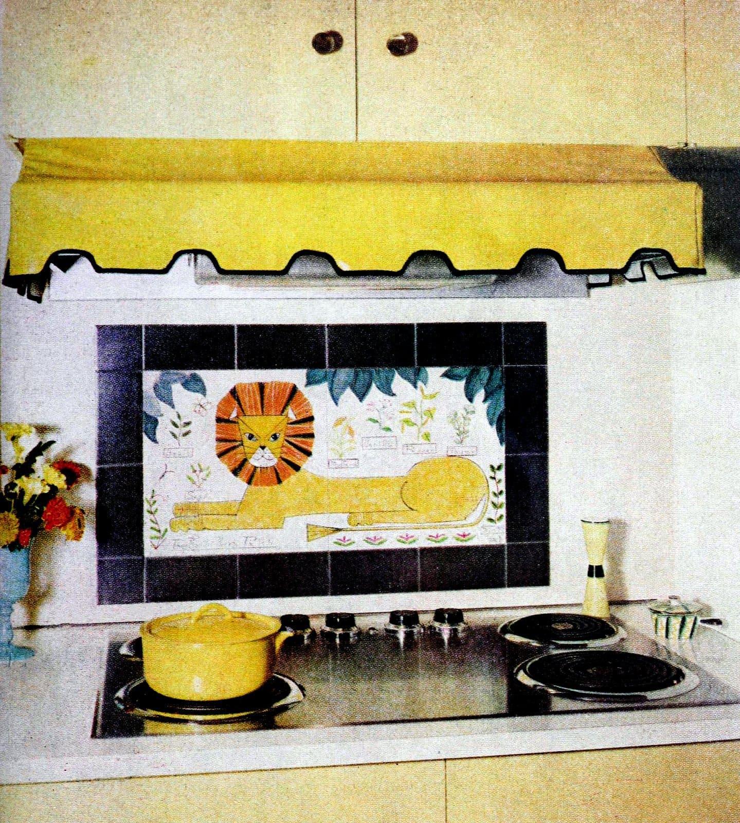 Homeowner DIY lion design as stove backsplash (1960)