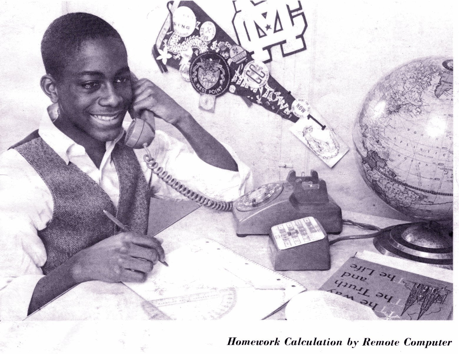 Homework calculation by remote computer (1970)