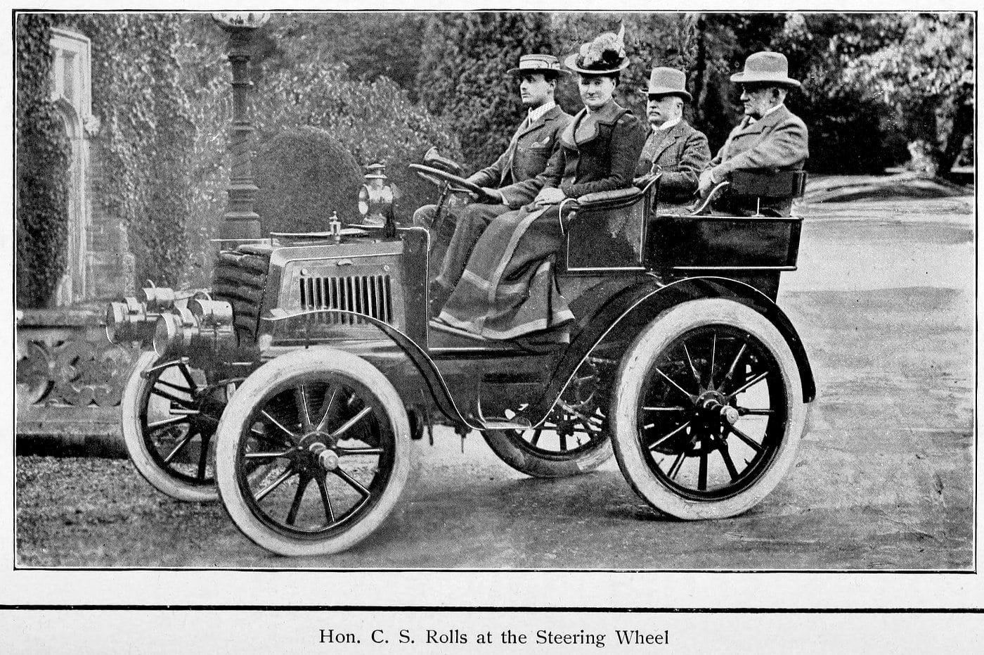 Hon. C.S. Rolls at the steering wheel (1902)