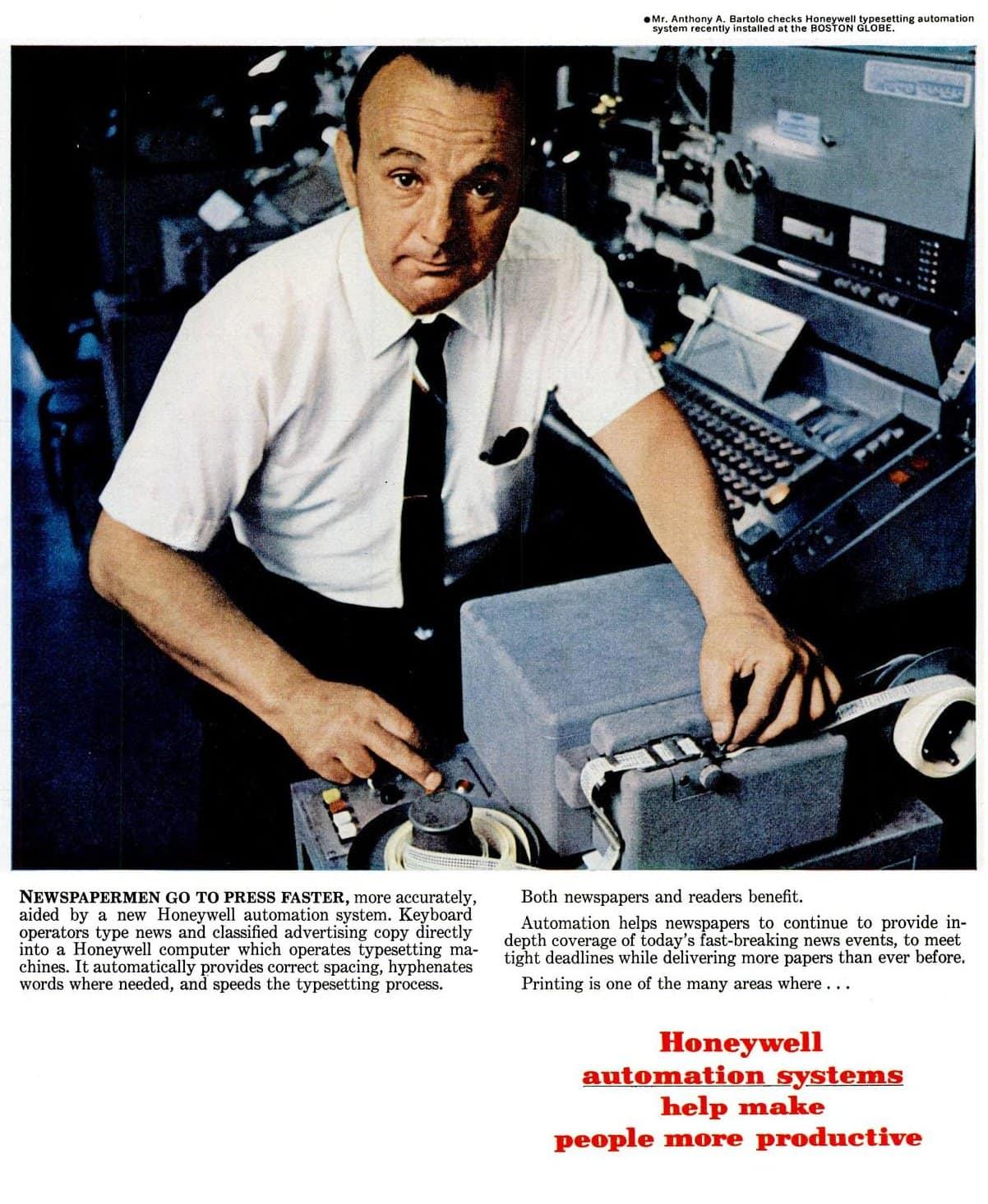 Honeywell computers to typeset the Boston Globe newspaper (1967)